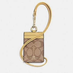 Coach Signature ID Lanyard in Sunflower, NWT